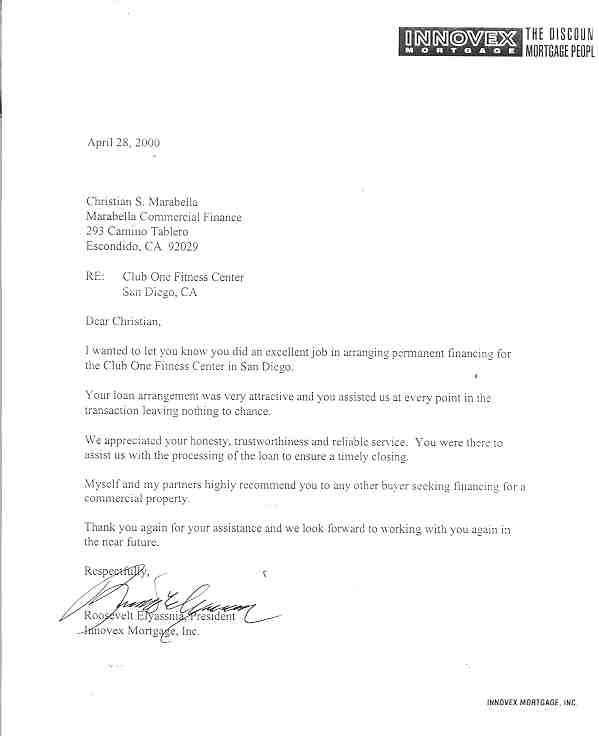 Letters Of Reference Marabella Commercial Finance